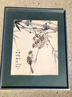 Vintage Chinese Framed Watercolor Painting Scroll Birds by 黃磊生