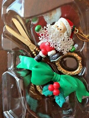 Vintage Trim a Home Crafter Santa with Scissors - Tree Charm Ornament KMart