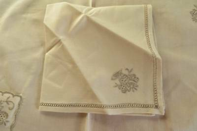 Set 6 Vintage Place Mats with Pocket Napkins Honeycomb Embroidery  c1950
