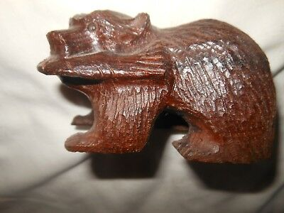 Rustic Hand Carved Wood Bear Fish In mouth Collectible figurine Cabin Decor