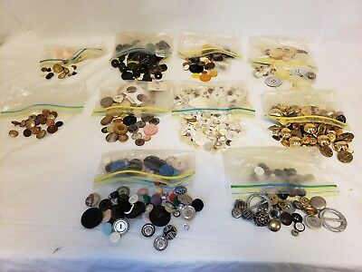 2 Lb Lot of Antique & Vintage Buttons MOP Military Leather Bakelite Horn Shell