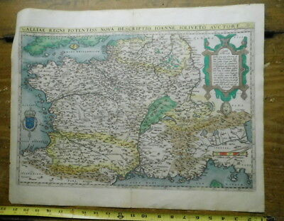 Original Antique 16th C Map Galliae Regni Potentiss 1570 Ortelius France