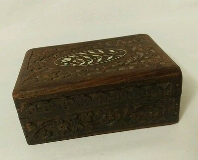 Vintage Hand Carved Wood Wooden Jewelry Box Inlaid Ivory India