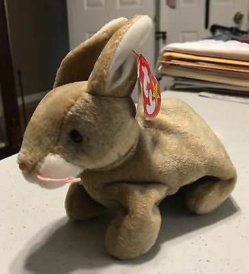 """Ty Beanie Baby """"Nibbly"""" MWMT Bunny (Error 1998/1999) Easter, Light Brown Color"""