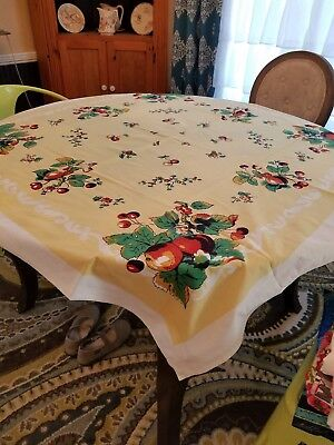 Vintage Heavy Cotton TABLECLOTH WITH FRUIT