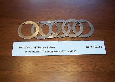 """Shaper Cutter Spindle Shim Spacer - 1 1/4"""" Bore - Set of 6 from .05"""" to .005"""""""