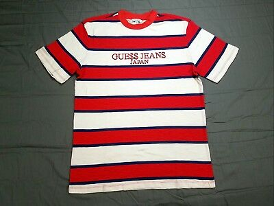 Guess Jeans USA ASAP Rocky Japan White Red Blue Exclusive Striped Tee T Shirt S