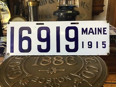 Pair 1915 Maine Porcelain License Plate No Reserve 1 Family Owned,