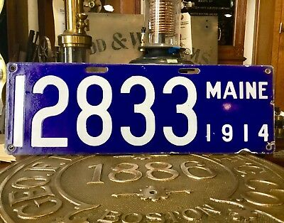 Pair 1914 Maine Porcelain License Plate No Reserve 1 Family Owned,