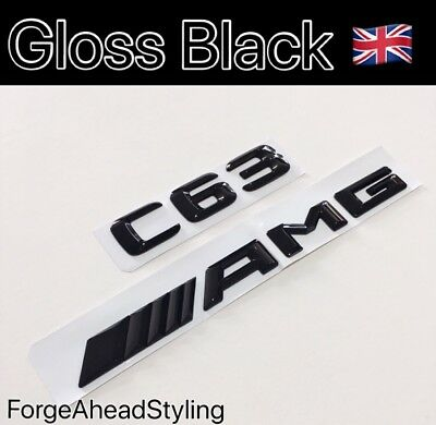 C63 AMG Gloss Black Boot Badge Set Emblem Rear Glossy Mercedes