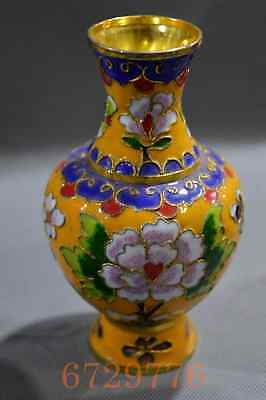 China Collectable Handwork Cloisonne Carve Beauty Flower Royal Noble Yellow Vase