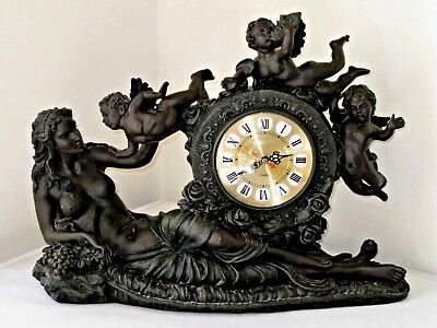 "20"" Vtg Large Cherubs Nude Antique Style Quartz Clock Heavy Solid Composite"