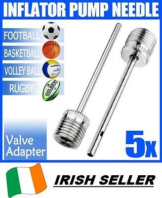 5 X Ball Inflating Pump Needle Football Rugby Valve Adapter soccer GAA