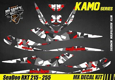 Kit Déco pour / Decal Kit for Jet Ski Sea-Doo RXT 215 / 255 - Kamo Red
