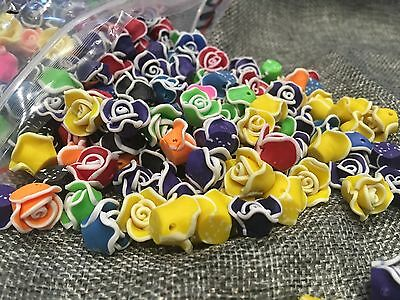 30Pcs Mix Colours Fimo polymer Clay Flowers Roses Flat Back With Hole DIY 1cm