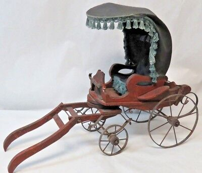 Nice Antique Pram Vintage Baby Doll Carriage Stroller Buggy Canvas, Iron & Wood