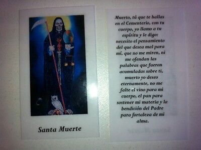 Small Holy Prayer Cards For Santa Muerte Holy Death Black In Spanish Set Of 2