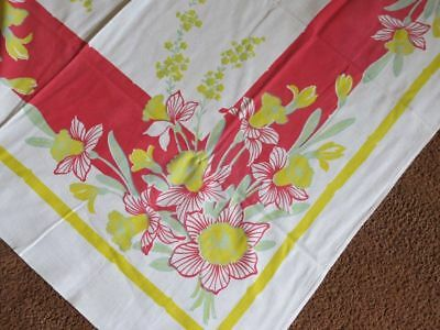 Vtg Printed Tablecloth 52x46 pink jadeite green yellow DAFFODIL FLORAL square