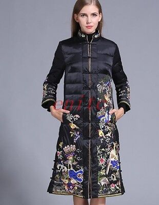 2019 Luxurious Womens Down Coat Embroidery Slim Fit Duck Down Parka Overcoat New