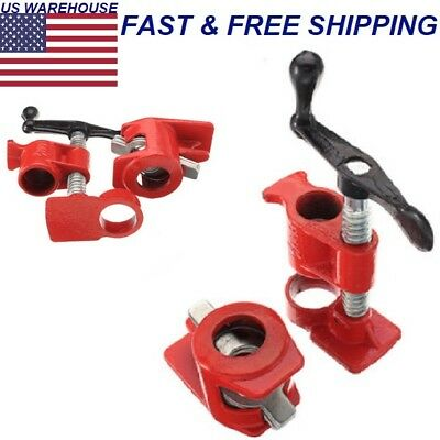 """Wood Gluing Pipe Clamp Set Heavy Duty PRO Woodworking Cast Iron 3/4"""""""
