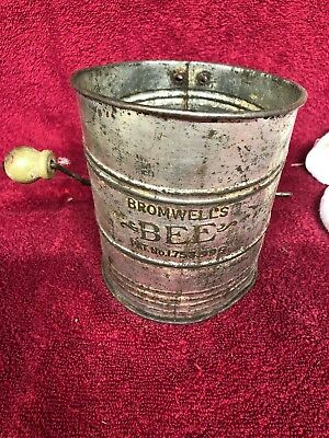Vintage Bromwell's Bee Metal Flour Sifter,Patent Number 1.753.995