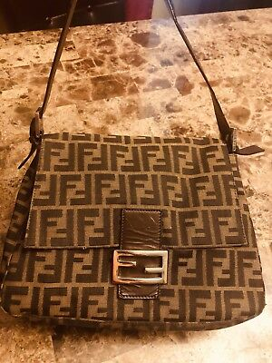 Authentic FENDI Zucca Mama Forever Monogram Canvas Flap Shoulder Bag  Baguette aa1fdc7facece