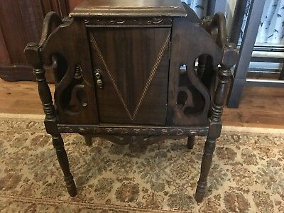 "Antique Wooden Copper Lined Humidor & tobacco stand. 24.5"" Tall. FREE SHIPPING!"