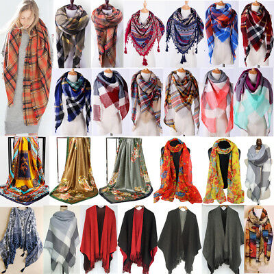 Women Oversized Warm Winter Wool Blend Scarf Soft Long Scarves Wrap Shawl Lot US