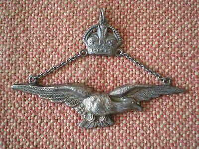 WW2 Royal Canadian Air Force Warrant Officer Sterling Silver Pendant by Roden