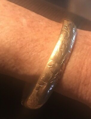 """SB & Co Yellow Gold Filled Etched Victorian Bangle Bracelet, 7"""" length"""