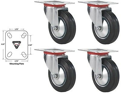 "Lot of 4 3"" Swivel Caster Wheels Rubber Base with Top Plate & Bearing Heavy Duty"