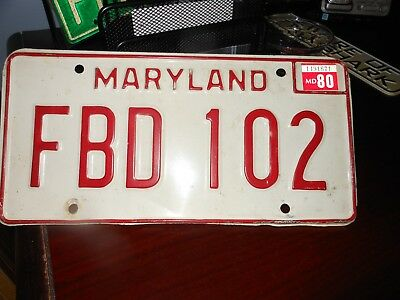 Maryland 1980 automobile license plate