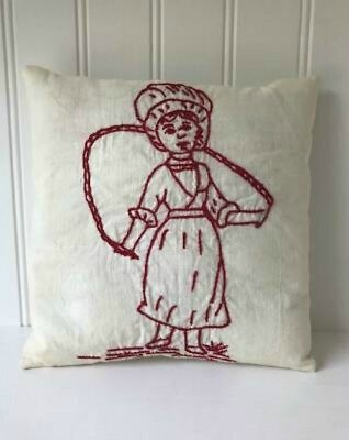 Primitive Vintage Little Girl Red Work Quilt Block Pillow
