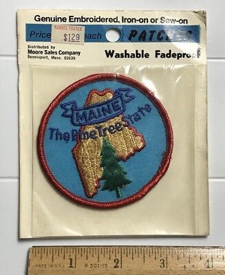 NIP Vintage Maine The Pine Tree State ME Round Souvenir Embroidered Patch