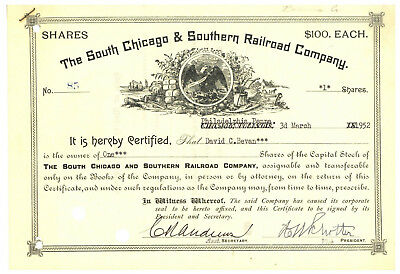 South Chicago & Southern Railroad Co Stock Certificate. Philadelphia, 1952
