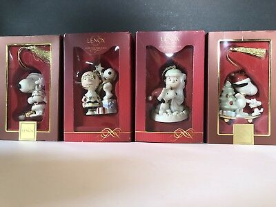 Lenox Peanuts For The Holidays Christmas Ornaments Lot Of Four