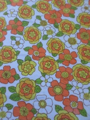 Retro Vintage Orange Yellow White And Green Flannel Floral Fabric..