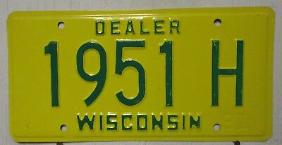1991 Wisconsin license plates tag DEALER yellow green 1951 H man cave garage