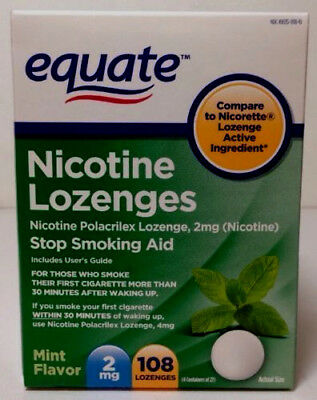 Equate Nicotine Lozenges, Mint Flavor, 2mg, 216 total exp 04/2020( 2 boxes 108)