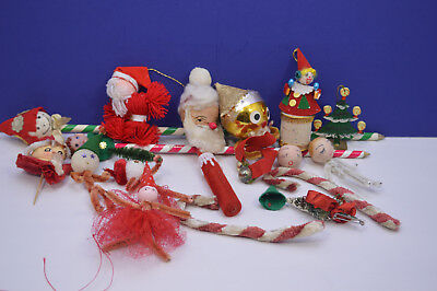 Variety of Vintage Christmas Craft Items Spun Cottton, Tissue, Large Pencils