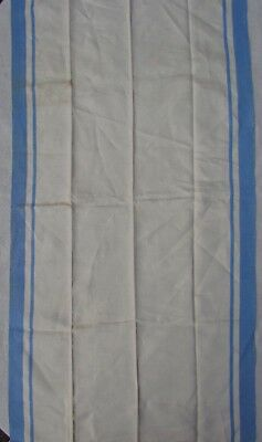Antique Vintage Linen T Towel Hand Hemmed Blue Stripe