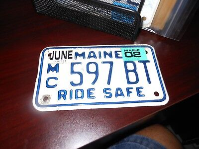 Maine 2002 motorcycle license plate