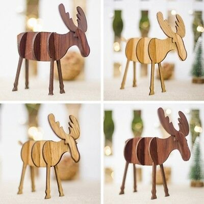 Home Xmas Tree Wooden Hanging Pendants Deer Elk Christmas Party Decor N7