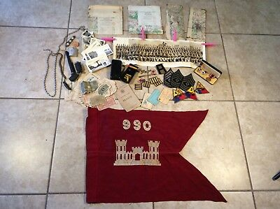 Great WW2 US Army Armored-Engineer Soldier Flag, Diary, Photo & Misc. Group, NR