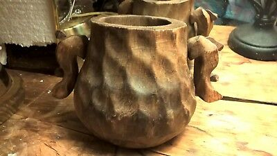 Unusual Antique 1800's  Primitive Hand Carved Wood Double-Handled Mug/Cup