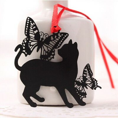 Chic Hollow out Butterfly Cat Metal Bookmark - Page Holder Paper Clip N7