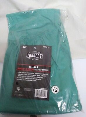 """IRONCAT 7071 18 Irontex FR Cotton Sleeves, 18"""", Green (Pack of 1), New"""