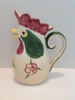 "Vintage Hand Painted 11 1/2"" Rooster Pitcher Made In Portugal"