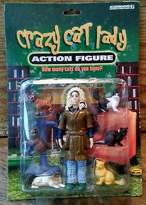 "Crazy Cat Lady 5.5"" Action Figure With 6 Cats By Accoutrements New In Package"