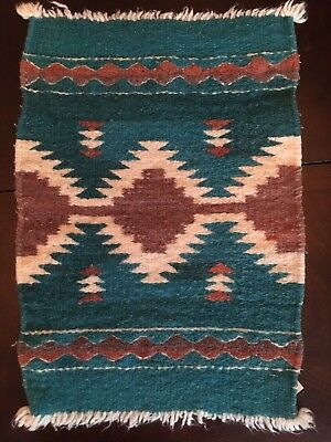"""Vintage 100% Wool Small Woven Native American WEAVING  12.5"""" X 18.5"""" Turquoise"""
